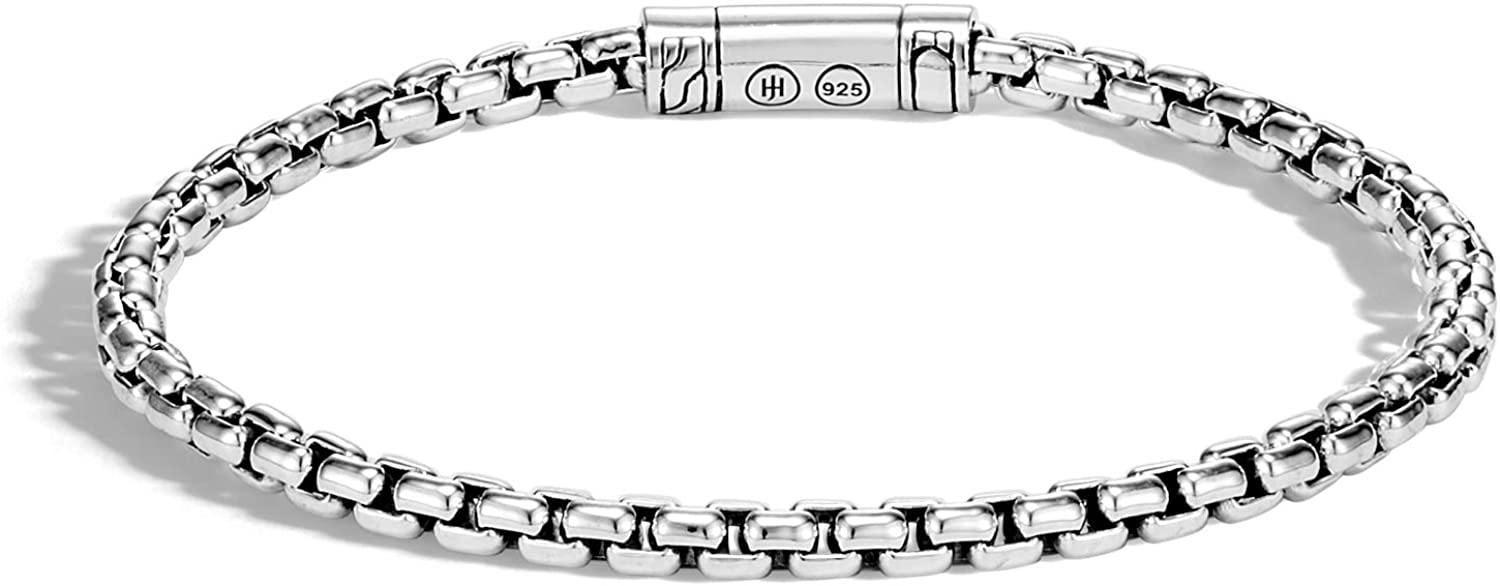 MEN's Classic Chain Silver 4mm Cl Bracelet Pusher with Box Super intense Indefinitely SALE