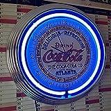 Neon reloj Neon Clock–Coca Cola Atlanta Sign–Reloj de pared iluminado con anillo Neon Azul.