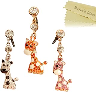 Mavis's Diary Dust Plug 3 Pcs Cute Diamond Giraffe Design Cell Charms Earphone Jack Accessories for iPhone 6 6S Plus SE 5 5S / Ipad/iPod Touch/Samsung Galaxy S7 Series and Other 3.5mm Ear Jack