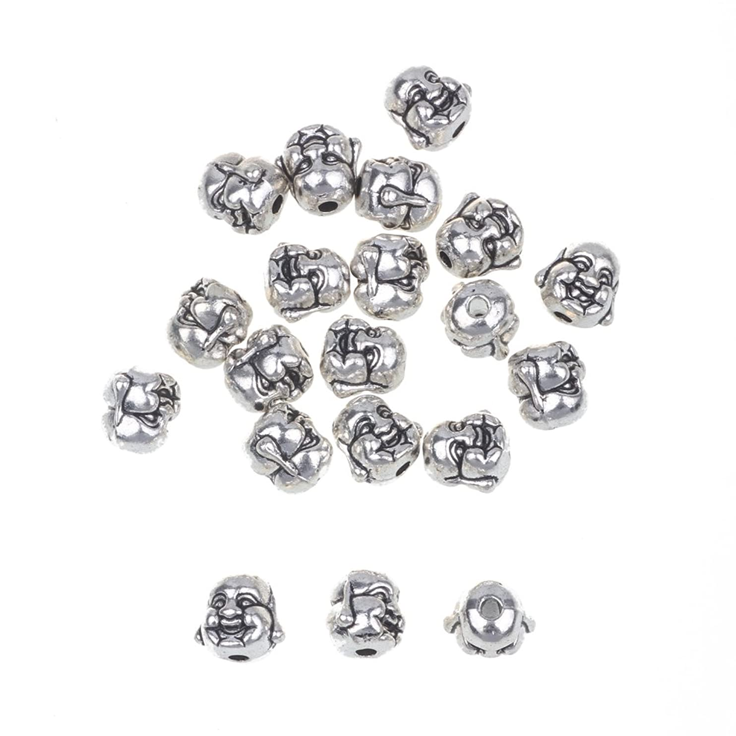 RUBYCA 20PCS Laughing Buddha Small Spiritual Metal Beads Silver Color Spacer Jewelry Making Bracelet