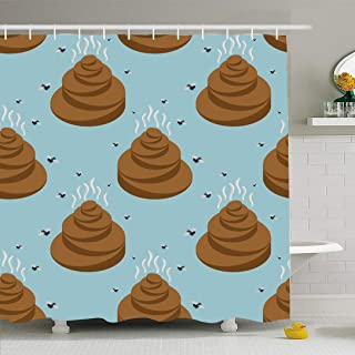 Ahawoso Shower Curtain Set with Hooks 66x72 Pile Face Garbage Stench Dirt Shit Isometric Pattern Turd Fly Miscellaneous Pooh Seamless Textures Waterproof Polyester Fabric Bath Decor for Bathroom