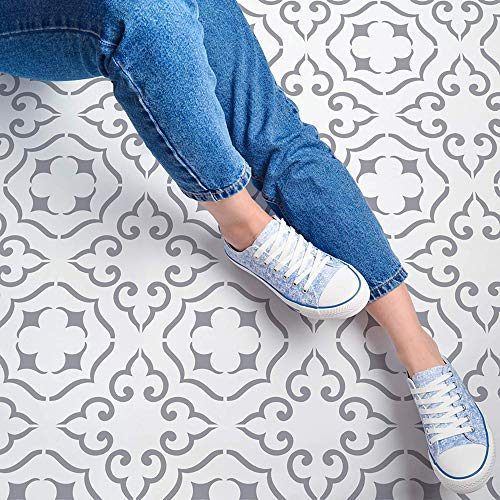 STENCILIT® Malaga Tile Stencil for Painting Floors - Repositionable for a 12x12 Tile - Large Floor Stencils For Painting Concrete - Tile Stencils For Painting Floors