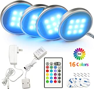 BASON RGB Under Cabinet Lighting, Remote Control LED Puck Lights, Wired Multi Color Changing, Dimmable, Adaptor Powered Sh...