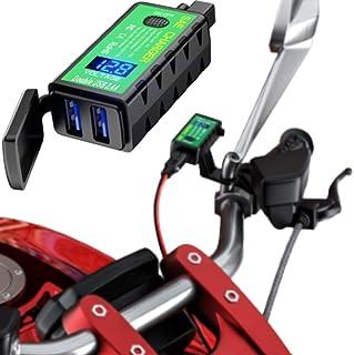 Kaedear(カエディア) バイク オートバイ 充電器 USB 電源 【 IPX8 業界最強防水性能 】 USBチャージャー デュアル 2 ポート (5V/2.4A×2) DC 12V クリック式 スイッチ 高輝度 LED 電圧計 SAEコネ...