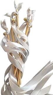 EinsSein 20x Wedding Wands Liebeszauber Silber Spalier Hochzeit Glücksstäbe Stäbe Spitze rund Kirche runde Holzstäbe Glöckchen Konfetti Standesamt Holz