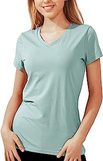 Women's Basic Plain V Neck T Shirts Stretchy Cotton Modal...