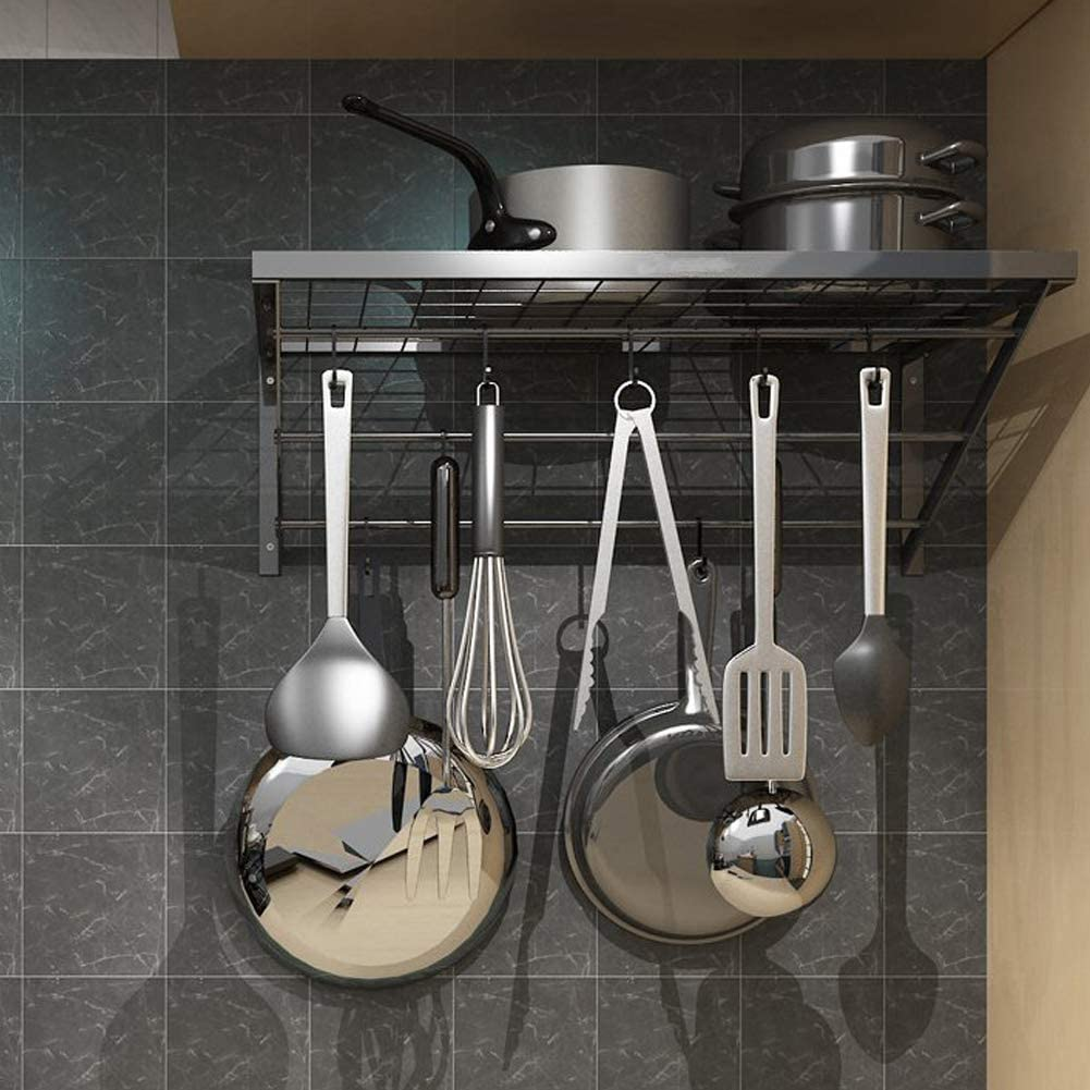 Black Shelving Organizer for Kitchen Bathroom Balcony Storage 60/×30/×22cm Wall Mounted Kitchen Shelf with Hooks Hanging Utensils Holder Metal Pot Pan Rack