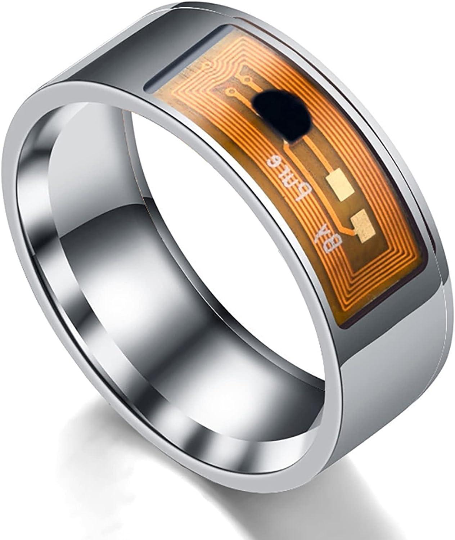 IYUNDUN Fashion Men Magic Smart Ring,Popular NFC Mobile Phone Smart Ring Stainless Steel 8mm Wide Smart Wearable Ring Smart Ring Couple Ring (Size : 10#)