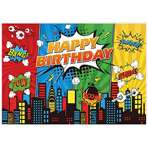 Allenjoy 7x5ft Superhero Theme Backdrop for Children Boys Kids Super Heros Comic Skyline 1st Happy Birthday Party Supplies Decorations Baby Shower Home Wall Decor Favors Banner Photography Background