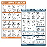 QuickFit 2 Pack - Medicine Ball Workouts and Battle Rope Exercise Poster Set - Set of 2 Fitness Charts (Laminated, 18' x 27')