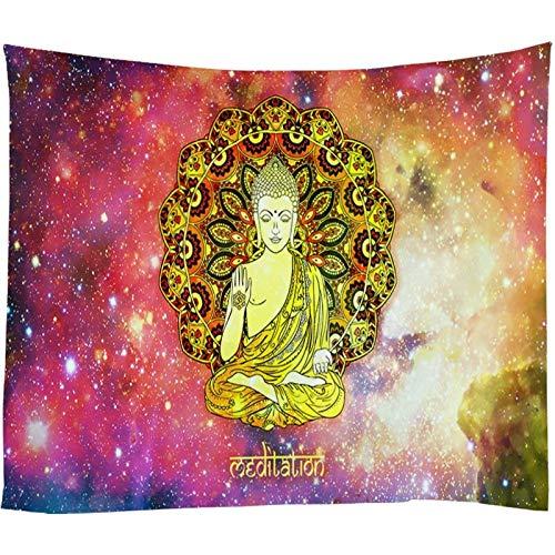 KHKJ Retro Buda Decorativo Galaxy Tapesties Indio Mandala Colgante de Pared Hippie Chakra Tapiz psicodélico paño de Pared A12 200x180cm