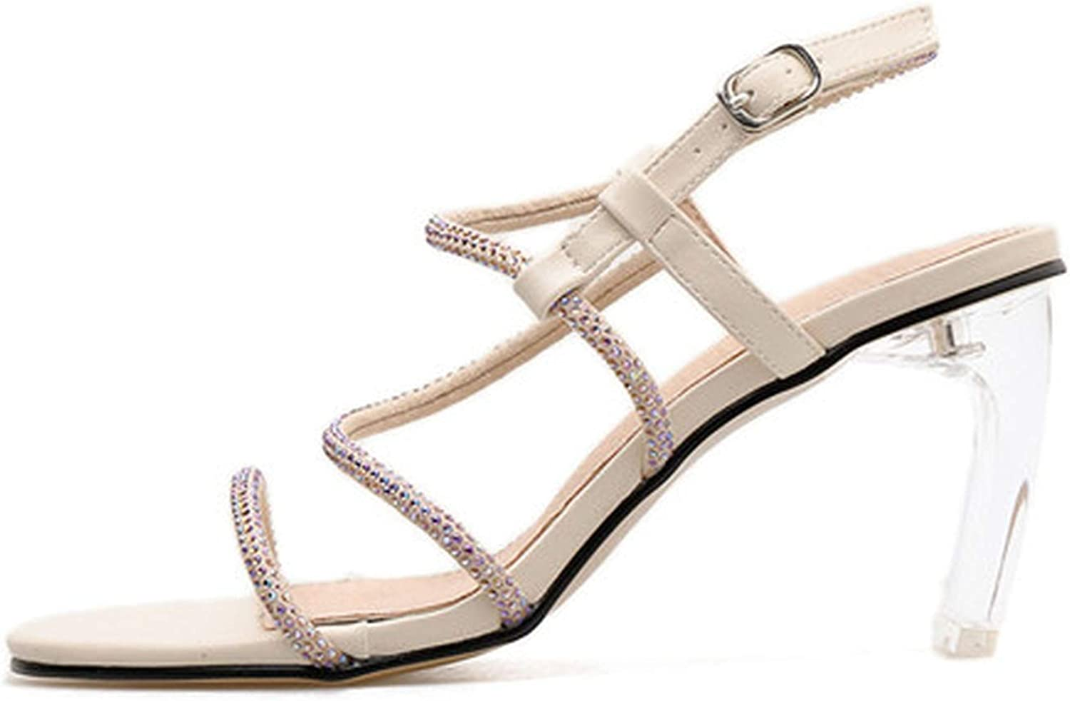 Sunshine-Family Summer Sandals Sexy Transparent Heel Crystal Open Toed High Heels Buckle Strap Women Square Heels Sandals