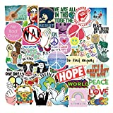 50 Pcs Love and Peace Stickers Hope Decals for Water Bottle Hydro Flask Laptop Luggage Car Bike Bicycle Waterproof Vinyl Stickers Pack