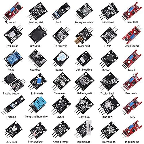ALMOCN Kit surtido de sensores 37 en 1, 37 módulos de sensores Kit de iniciación de proyectos de robot para Arduino...