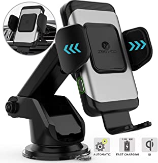 ZeeHoo Wireless Car Charger,10W Qi Fast Charging Auto-Clamping Car Mount,Windshield Dash Air Vent Phone Holder Compatible iPhone 11/11 Pro Max/Xs MAX/XS/X/8/,Samsung S10/S9/S8 (Dark Silver)
