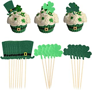 21pcs/Set St Patrick's Day Shamrock Clover Cake Topper,Green Top Hat Cupcake Picks Toppers for St Patrick's Day Party Decorations