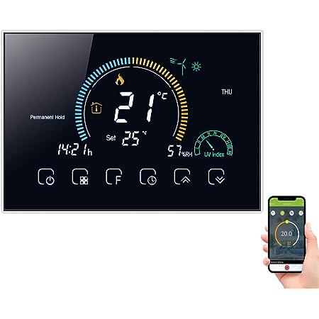 Decdeal Termostato Wifi para Calefacción de Gas, control de voz mediante aplicación, pantalla LCD retroiluminada, visualización de humedad y UV, programable y compatible con Alexa y Google Home