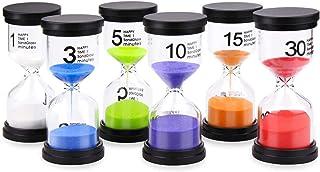 MOCOFI 砂時計 インテリアタイマー 砂タイマー カラフルな砂時計 6個セット (1分/3分/5分/10分/15分/30分) 9.7 × 4.3 cm