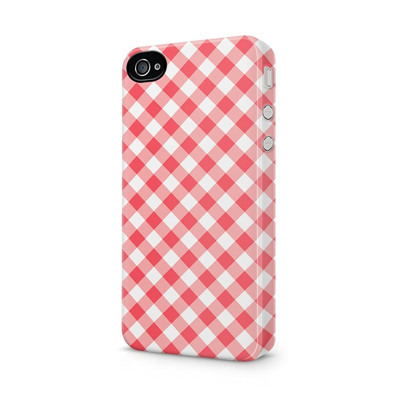 Red Vintage Checkered Tablecloth Pattern Apple iPhone 4, iPhone 4s Plastic Phone Protective Case Cover