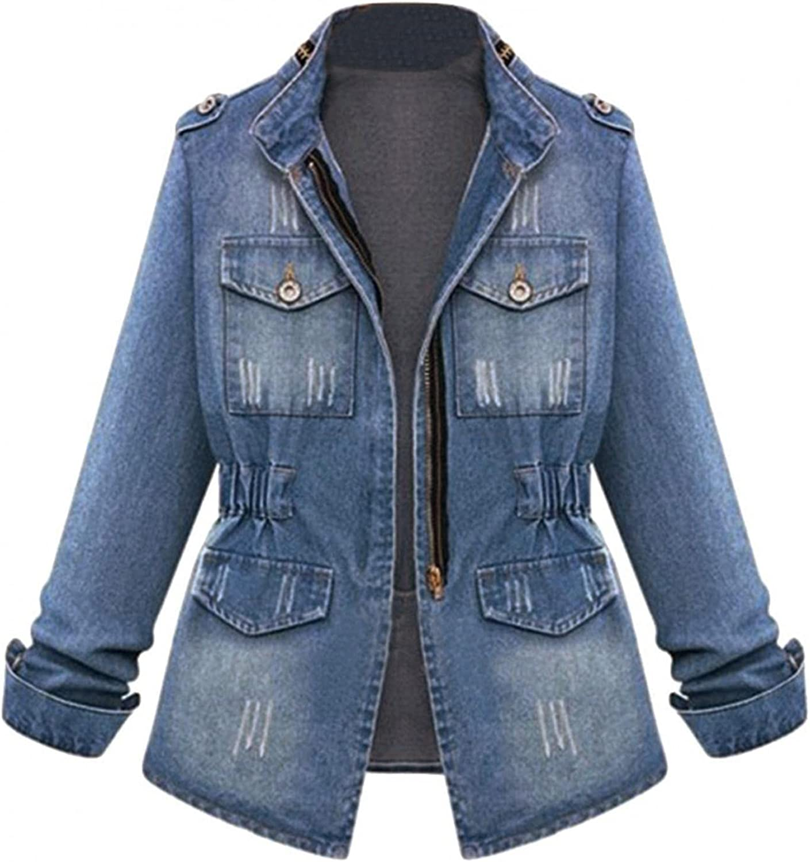 Yuanjay Women Classic Denim Jacket Zipper Waist Distressed Casual Autumn Coat Autumn Winter Tops