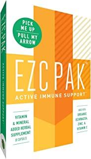 EZC Active Pak Immune System Booster - Echinacea, Zinc, and Vitamin C, Gluten-Free Vegetarian On-The-Go Immune Support Pac...