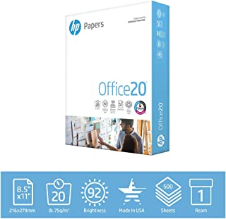 HP Printer Paper Office 20lb, 8.5 x 11, 1 Ream, 500 Sheets, Made in USA From Forest Stewardship Council (FSC) Certified Resources, 92 Bright, Acid Free, Engineered for HP Compatibility, 172160R
