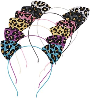 Lee Design Cat Ears Headband Party Headbands Cat Ear Headband Leopard Print Cat Ears for Girls/Women Daily Wearing and Party Decorations, Pack of 6 (Multicolor Leopard Print)