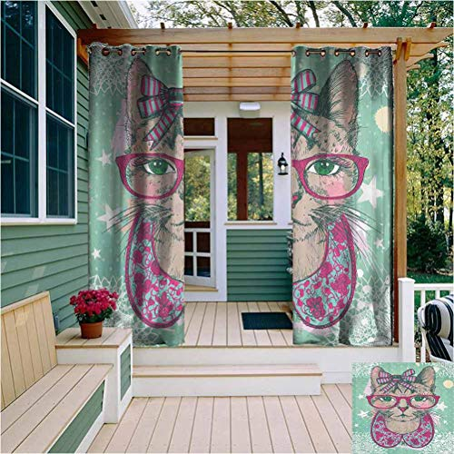 Cat Decor Heat Insulation Indoor/Outdoor Curtain Fashion Cat in Hipster Glasses and Lace Collarette Bow Vintage Humor Graphic Outdoor Drape for Pergola/Porch, Tan Pink Mint Green W84 x L84 Inch