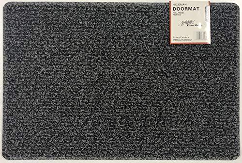 Nicoman Schmutzfänger Barrier Fußmatte schwere Bodenmatte-(Geeignet für Innen- und Schützen Außen), Mittel (75x44cm), Holzkohle