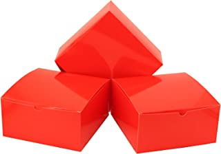 Tytroy Coral Red Valentine's Day Paper Gift Boxes with Lids Tuck Top Craft Box Bakery Box (10 pc)