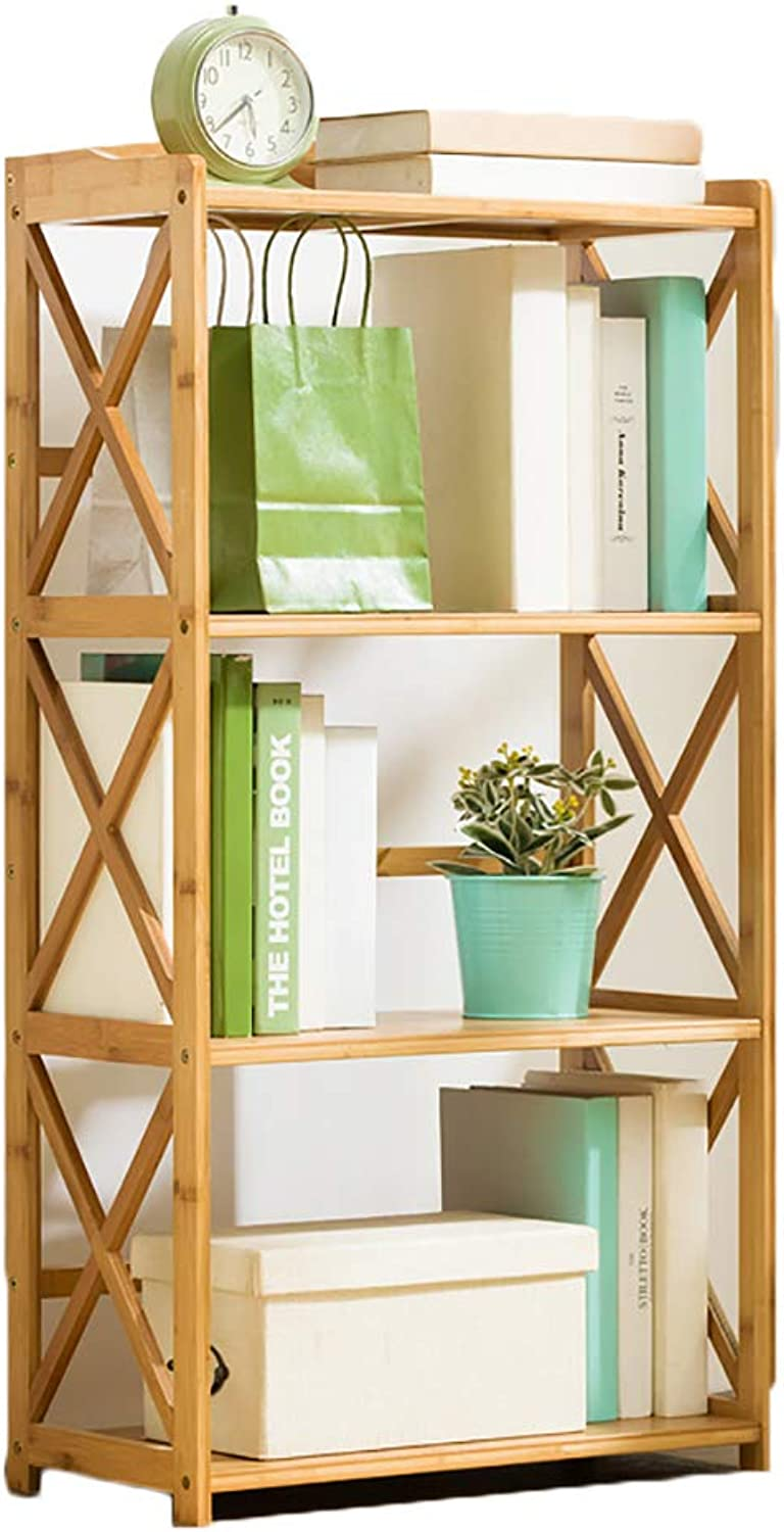 Sturdy Easy Assembly Bookshelf,Bamboo Floor-Standing Multifunctional Open Shelf Storage Rack Simple Organizer Office Living Room-C 50x25x100cm(20x10x39inch)