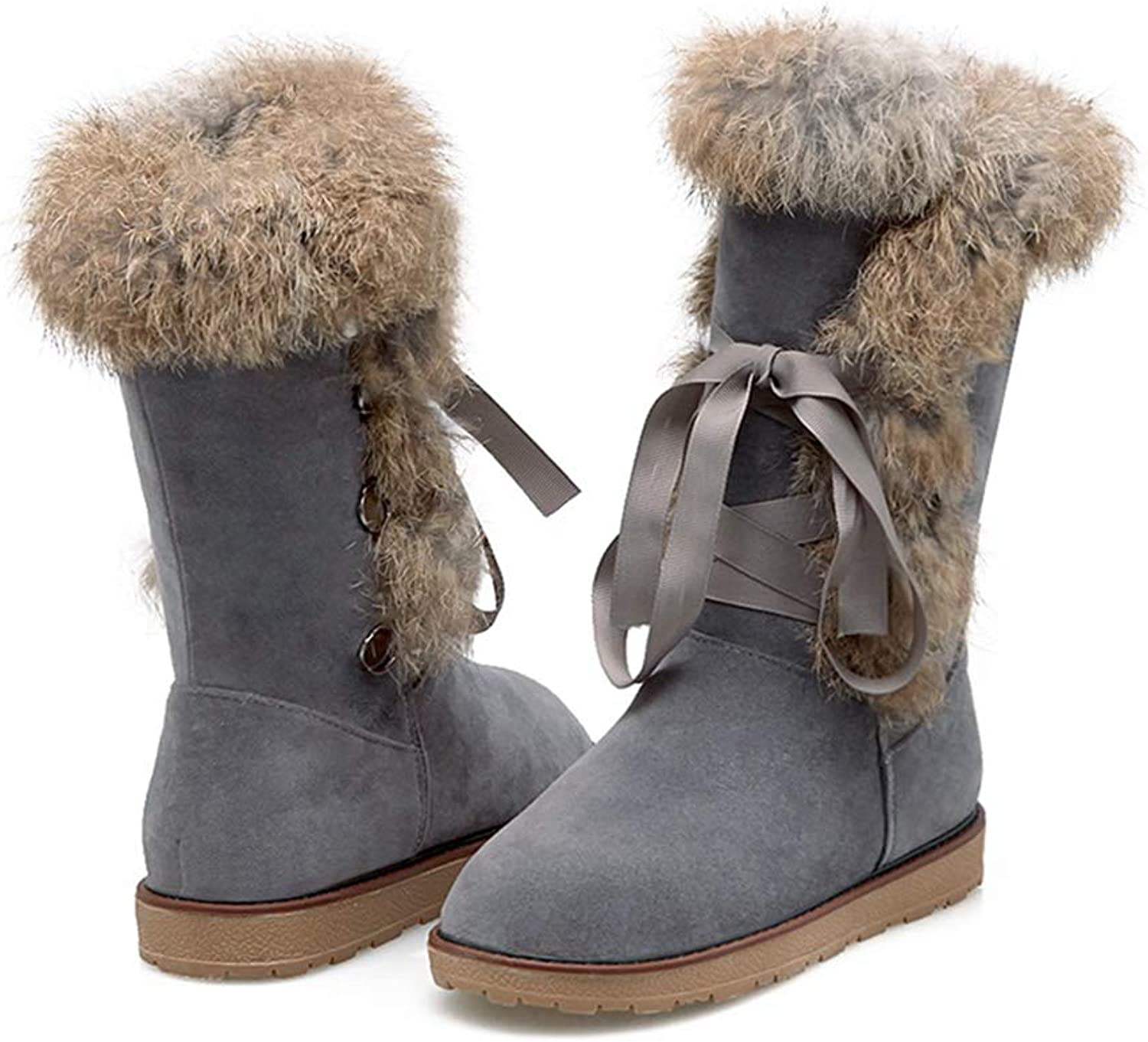 SENERY Women Winter Mid Calf Boots,Low Flat with Lace-up Ladies Plush Warm Concise Casual Round Toe Snow Booties