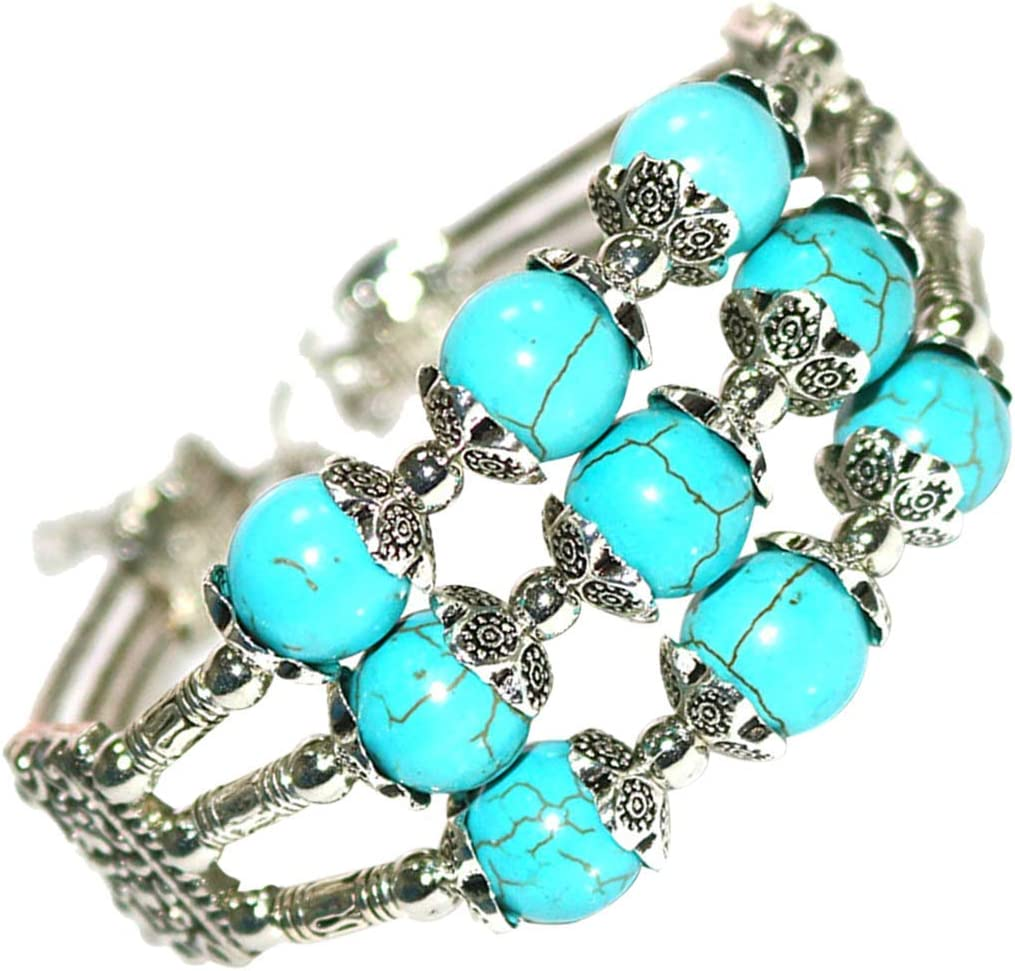 Urns Ashes Funeral Turquoise Cuff Bracelet Gifts for Sister Bangle Crystal Beads Jewelry Birthday Gift for Women, Mother, Wife Pet Memorial Dog cat Urn