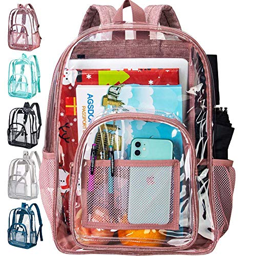 """Clear Backpack, Heavy Duty See Through Backpack, 16"""" Transparent Large Backpack for College-Pink"""