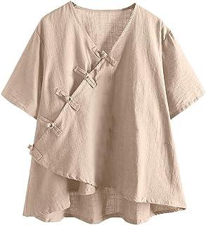 5b4c8d8e8b 🍋GongzhuMM Chemise Style Chinois Vintage T-Shirt Casual à Manches Courtes  Mode Blouse Femme