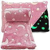 Glow in The Dark Blanket Throw Pink Soft Plush Fleece Moon & Stars Design Large 60 x 70 inch & Pillow Case 18 x 30 inch
