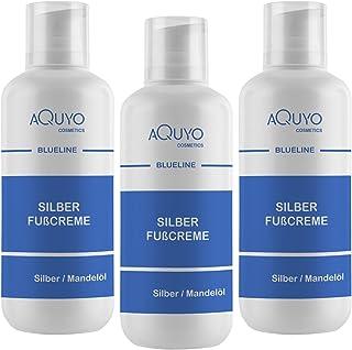 Blueline Silber Fusscreme für trockene, empfindliche und rissige Füße 3x 500ml | Fußcreme mit Microsilber bei Juckreiz & Hornhaut | Fußpflege Creme zur Behandlung von Fußgeruch & Schweißfüße