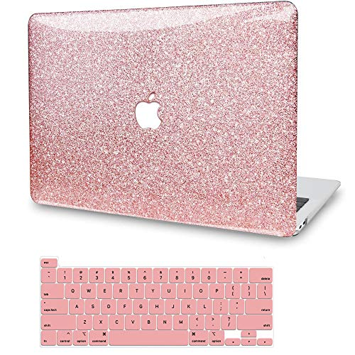 MacBook Air 13 Inch Case A1369 A1466, G JGOO Glitter Sparkly Hard Protective Laptop Shell Cover Case with Keyboard Cover for Apple MacBook Air 13.3 (Older Version 2010-2017 Release), Shining Rose Gold