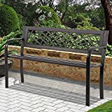 Patio Bench Park Garden Bench Outdoor Bench Metal Porch Chair with Armrests Sturdy Steel Frame Furniture, 480LBS Weight Capacity, for Park Yard Patio Deck Lawn, Black