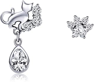 925 Sterling Silver Flower Fairy Earrings With Purple Cubic Zirconia Stud Earrings for Women Christmas Gift