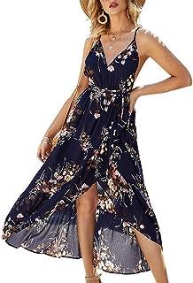 Choha Women's Sexy Deep V Neck Backless Dresses Summer Floral Print Split Maxi Party Dress