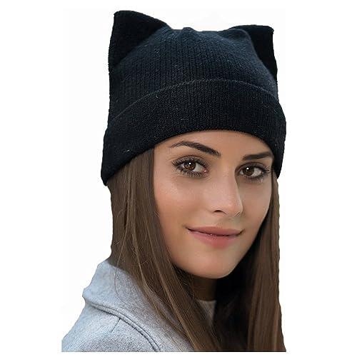 73eff3b9e7c Women s Hat Cat Ear Crochet Braided Knit Caps