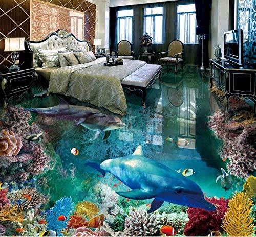 3D-vloertegels, gebruikersbehang, woonkamervloer, onderwaterwereld, 3D-vloerschildering fotobehang, vinylvloer, badkamer 150 cm x 105 cm.