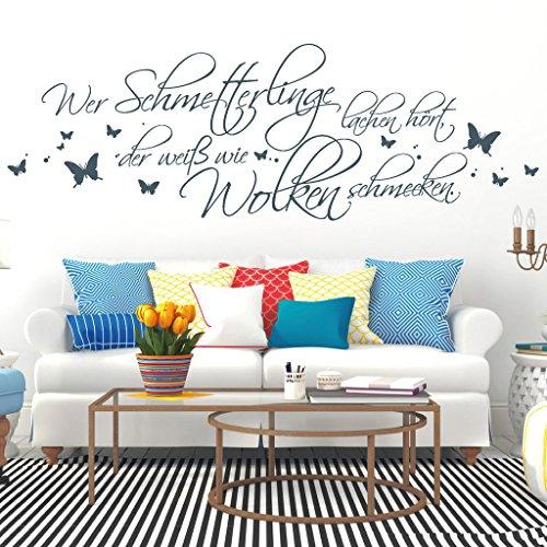 Wandtattoo-Loft Schriftzug Wer Schmetterlinge lachen hört, der weiß wie Wolken schmecken. Wandsticker Wandaufkleber/Lavendel 35 cm hoch x 105 cm breit