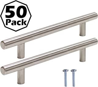Gobrico 50 Pack Kitchen Cabinet Handles Satin Nickel Cabinet Door Knobs 5 inch Hole Center Stainless Steel Cabinet Hardware for Bathroom Cupboard Door