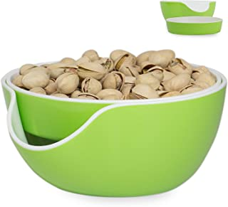 Pistachio Bowl, Snack Serving Dish, Double Peanut Bowl with Seeds Shell Storage, Green
