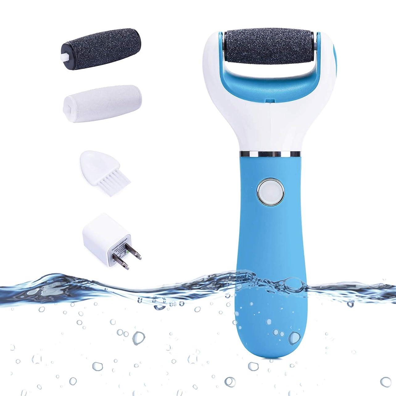 独立して累積錆びLionWell 電動角質リムーバー USB充電式 防水 足ケア 軽石 角質取り 角質除去 改良版ローラー 粗目/細目 2つ付き 快速/低速モード 爪磨き機能 水洗い可能 フットケア (ブルー?強化型)