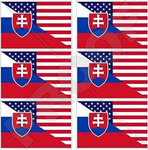 USA Vereinigte Staaten von Amerika und SLOWAKEI, Amerikanisch und Slowakische Flagge, Fahne 40mm Mobile, Handy Vinyl Mini Aufkleber, Abziehbilder x6 Stickers