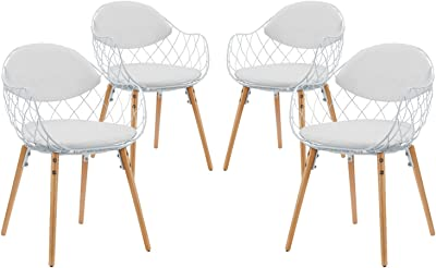 Modern Contemporary Urban Design Kitchen Room Dining Chair Set (Set of Four), White, Metal Wood