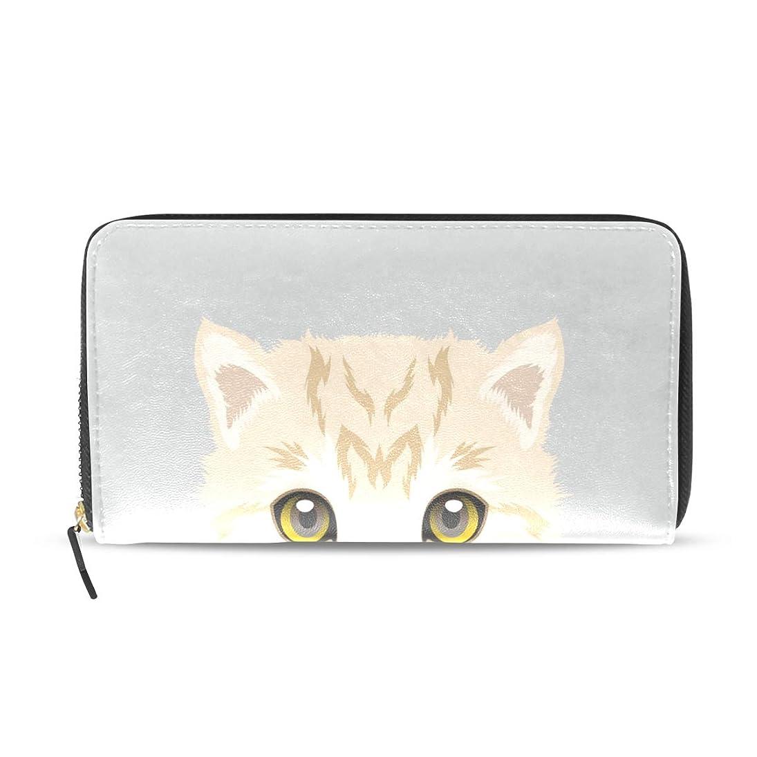 抑圧する予算グリル旅立の店 長財布 人気 レディース メンズ 大容量多機能 二つ折り ラウンドファスナー PUレザー 漫画 猫柄 可愛い ウォレット ブラック